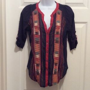 Tiny Blouse XS Dark Blue Red Orange Embroidered
